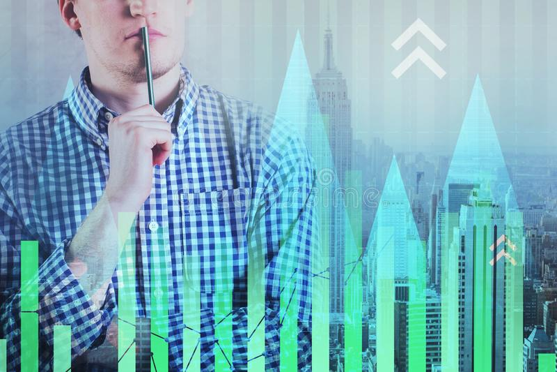 Investitions-, Makler- und Schnittstellenkonzept stockfotografie