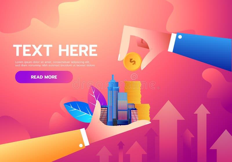 Investitions- und Finanzwachstumsgeschäftskonzept Hand, die Münze zur Stadt setzt Flache Illustration des Vektors Wachsendes Gesc stock abbildung