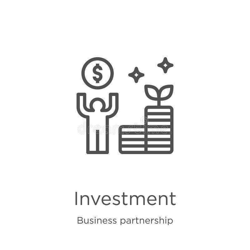 Investitionsikonenvektor von der Personengesellschaftssammlung D?nne Linie Investitionsentwurfsikonen-Vektorillustration Entwurf, stock abbildung