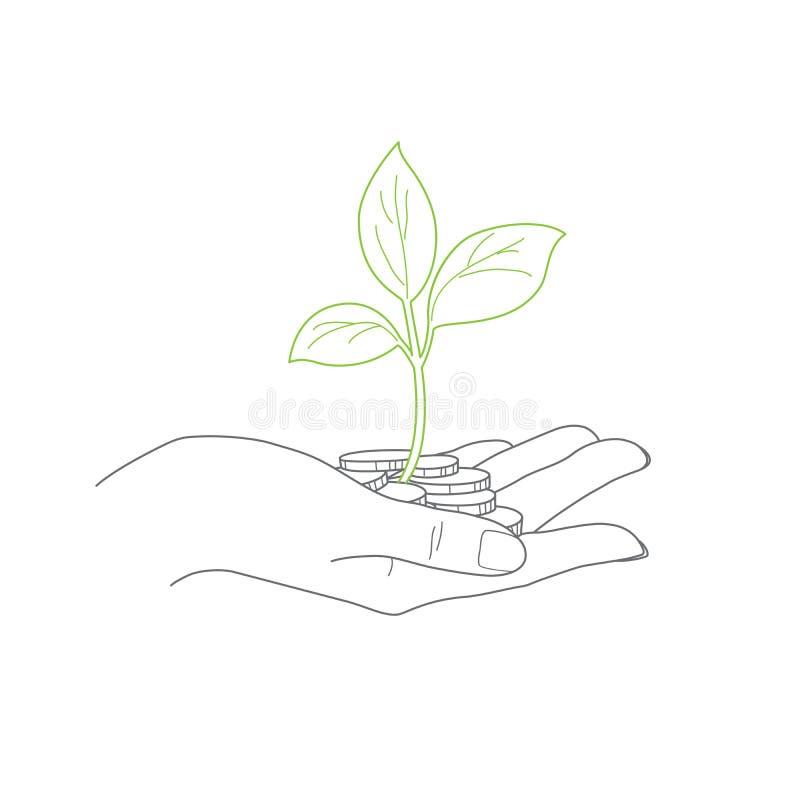 Investitionskonzept, Abschluss oben der weiblichen Hand lizenzfreie abbildung
