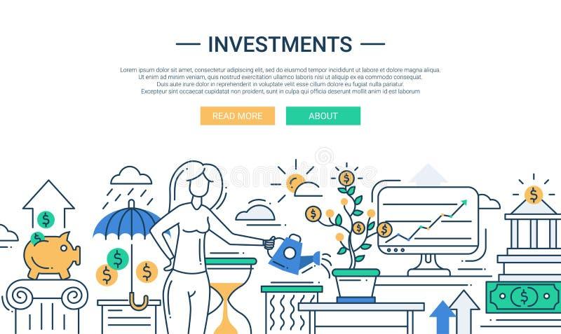 Investitionslinie flache Designfahne mit weiblicher Leitungsfinanzierung lizenzfreie abbildung