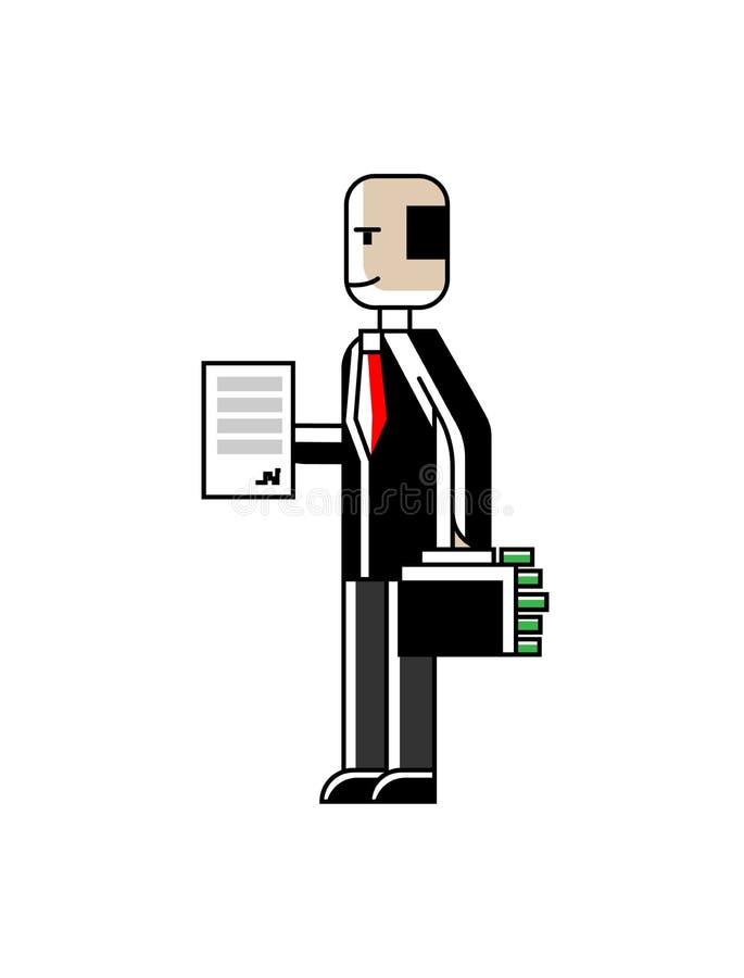 Investitore europeo con il contratto e la valigia royalty illustrazione gratis