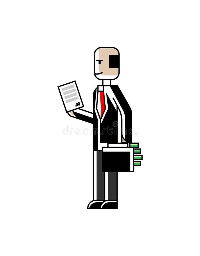 Investitore europeo con il contratto e la valigia illustrazione di stock