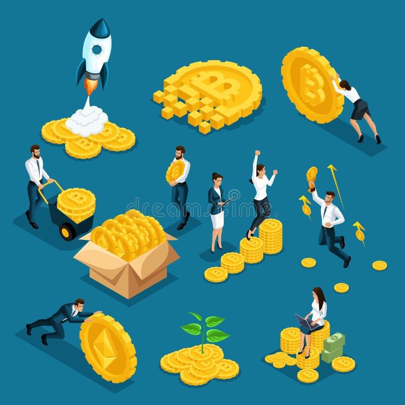 Investitori delle icone di Isometrics, speculatori con il concetto del blockchain di ico, bitcoin sicuro, estrazione mineraria di illustrazione di stock
