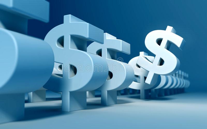 Investment. A dollar sign is selected from a bunch of 3d dollar signs