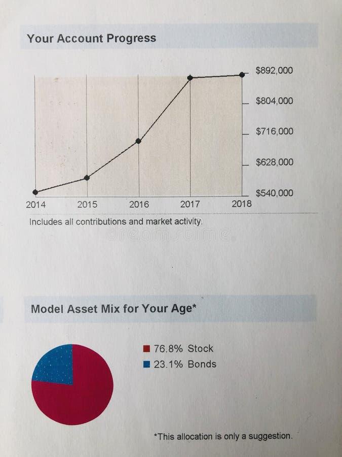 Investment account progress graph stock image