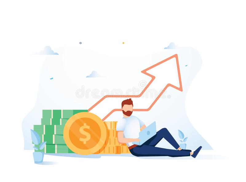 Investment and Analysis Money Cash Profits Metaphor. Freelancer, Employee or Manager Making Investing Plans. Calculating Benefits on Laptop. Vector vector illustration