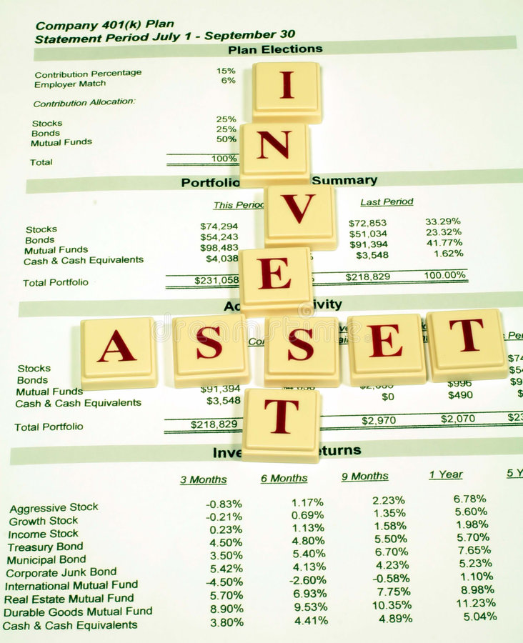 Investment Assets In Retirement Plan Royalty Free Stock Images