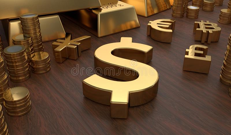 Investment and banking concept. Golden dollar symbol and coins. 3D rendered illustration.  royalty free illustration