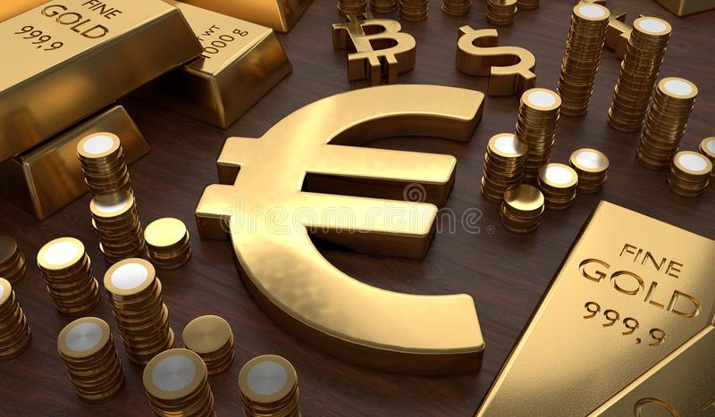 Investment and banking concept. Golden EURO symbol and coins. 3D rendered illustration.  vector illustration