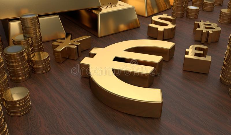 Investment and banking concept. Golden EURO symbol and coins. 3D rendered illustration.  royalty free illustration
