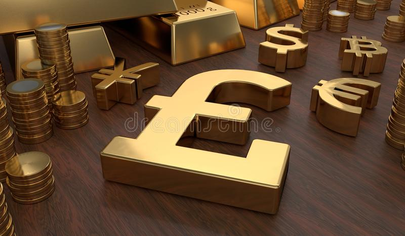 Investment and banking concept. Golden pounds symbol and coins. 3D rendered illustration.  vector illustration