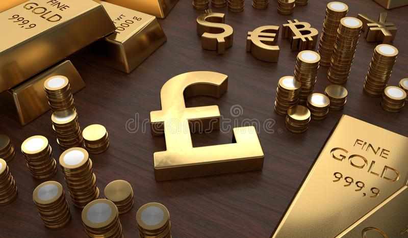 Investment and banking concept. Golden pounds symbol and coins. 3D rendered illustration.  stock illustration