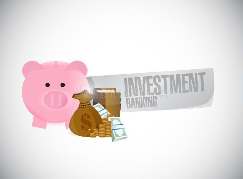 Investment Banking piggy bank and cash stock illustration