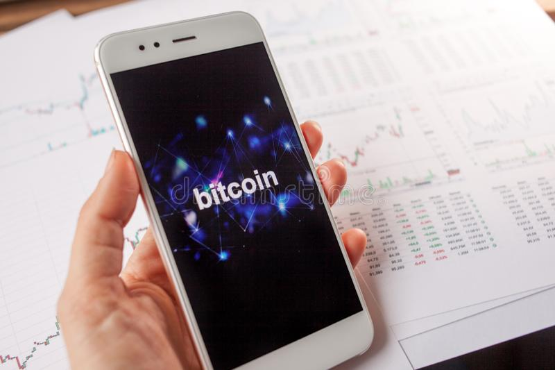 Investment in Bitcoin, concept. Statistics and reports, analysis of the cryptocurrency market. royalty free stock photos