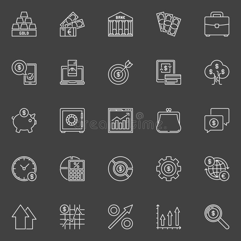 Investment and business outline icons royalty free illustration