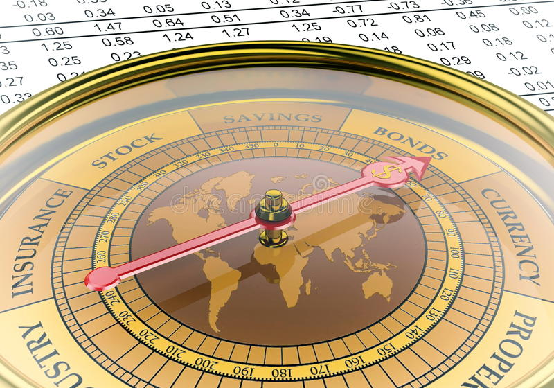 Investment Compass. A conceptual image for financial and business genre. A compass that can show you the money and the profit vector illustration