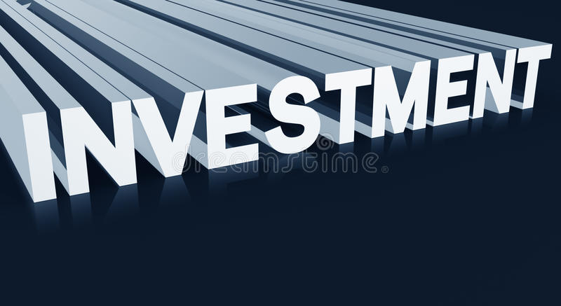 Investment concept. Investment word 3d illustration with dark blue background vector illustration
