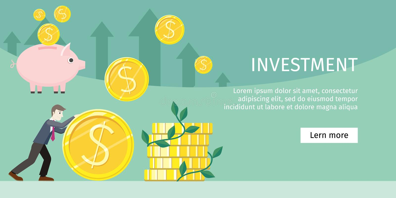 Investment Concept Flat Style Vector Illustration. Investment concept flat style vector. Smiling businessman rolls giant gold dollar coin near stack of money royalty free illustration