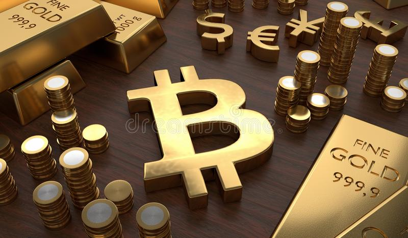 Investment concept. Golden bitcoin symbol and coins. 3D rendered illustration.  royalty free illustration