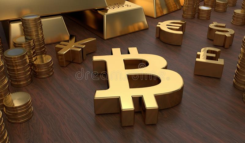 Investment concept. Golden bitcoin symbol and coins. 3D rendered illustration.  vector illustration