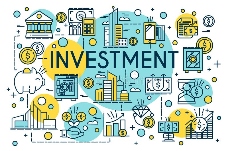 Investment concept thin line style. Business, management, financial planning, finance, banking. Property and finance royalty free illustration