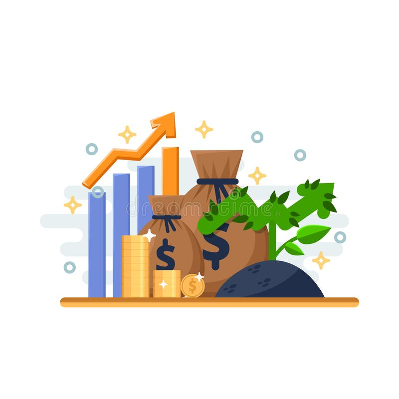 Investment, development and finance growth business concept. Arrow plant coins and financial graph. Vector illustration. royalty free illustration