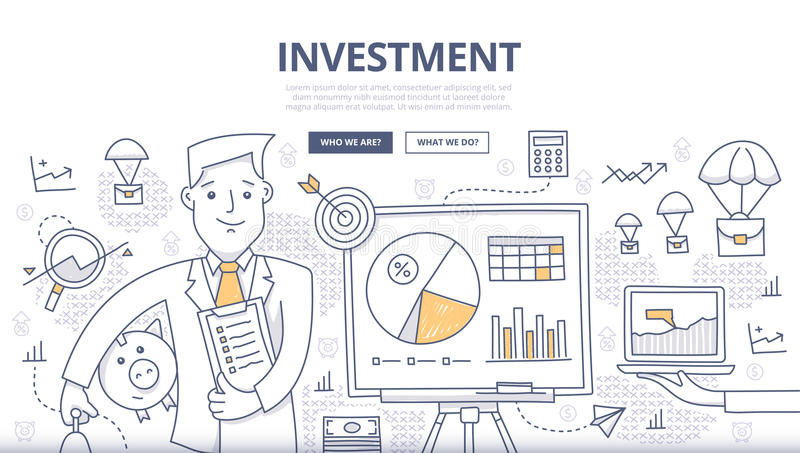 Investment Doodle Concept. Doodle design style concept of making investments, crowd funding, growing business profit, building effective financial strategy vector illustration