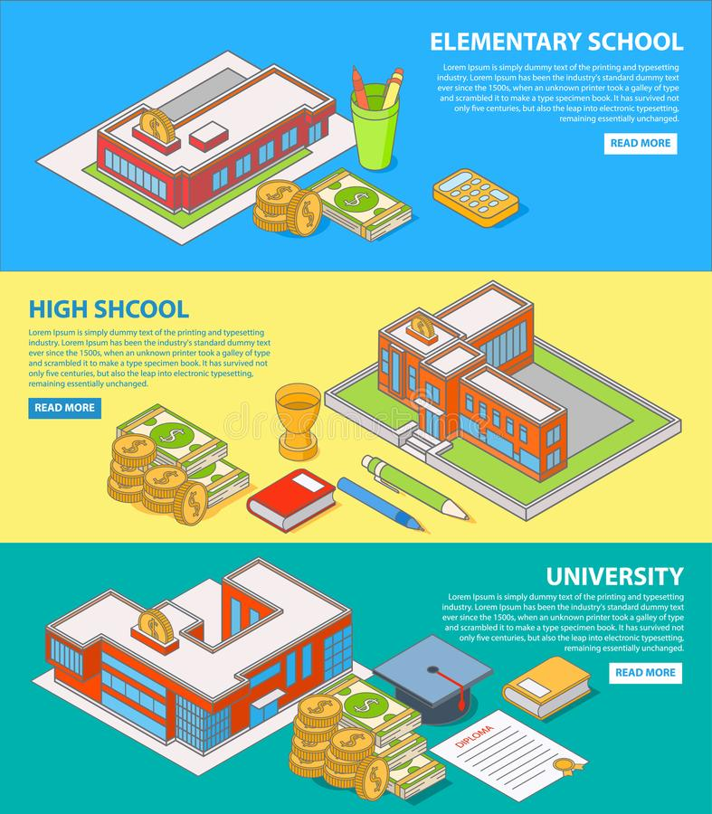 Investment in education concept vector flat isometric horizontal banner set stock illustration