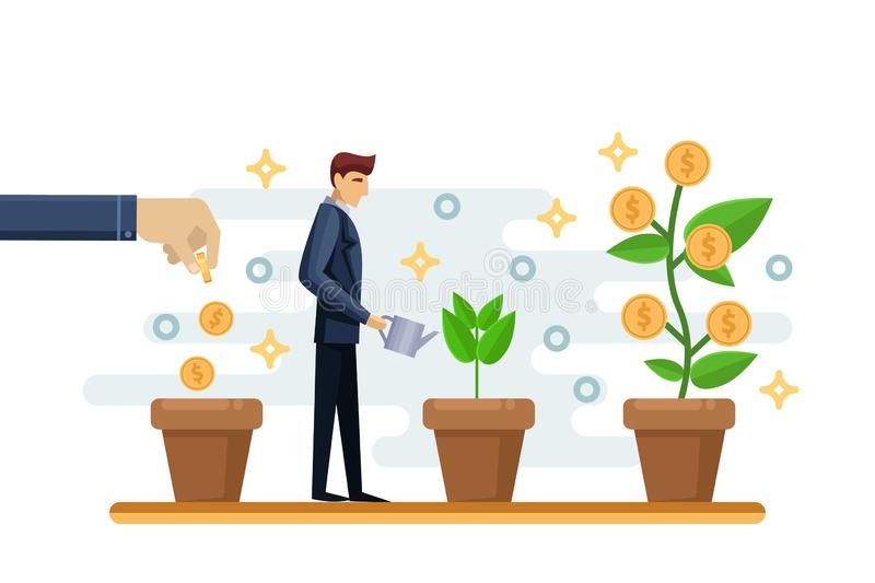 Investment finance growth business concept. Businessman putting coin in pot and watering money tree. Vector illustration royalty free illustration