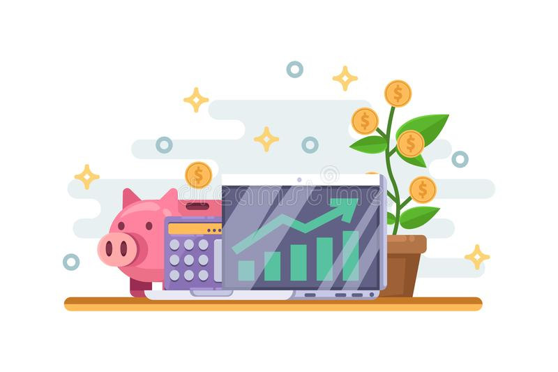 Investment and finance growth business concept. Piggy bank, money tree and financial graph. Vector illustration. royalty free illustration