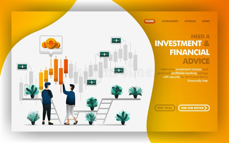 Investment and financial advice Vector Web Illustration, man referring and advises his friend about a good investment choice. Can vector illustration