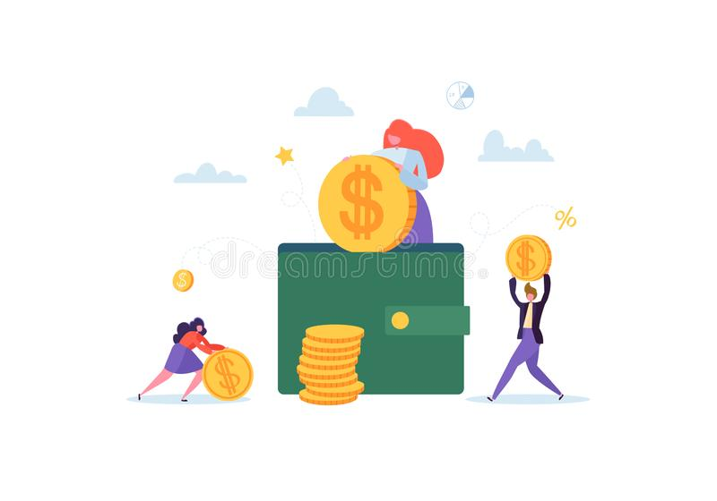 Investment Financial Concept. Business People Increasing Capital and Profits. Wealth and Savings with Characters Money stock illustration