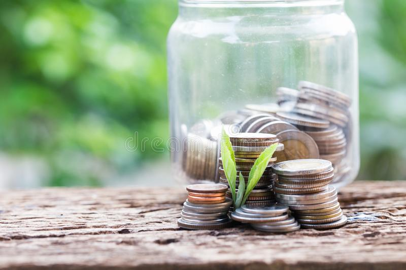 Investment and financial concept, Close up of stacking coins of growth. To profit finance stock image