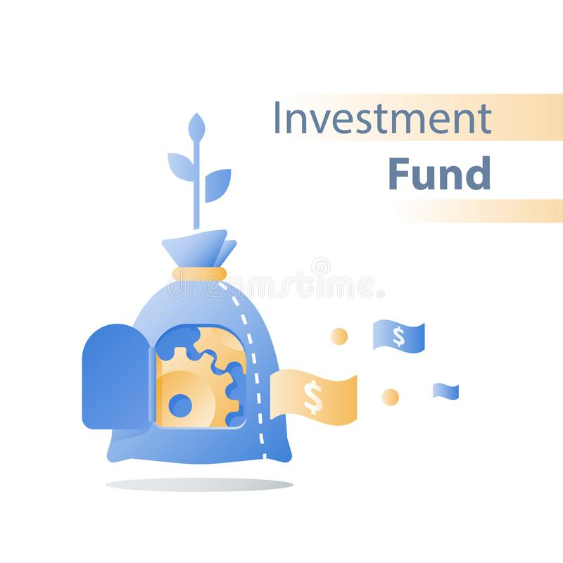 Efficient financial solution, investment fund, pension savings account, fund raising, mutual fund, value growth, business loan vector illustration