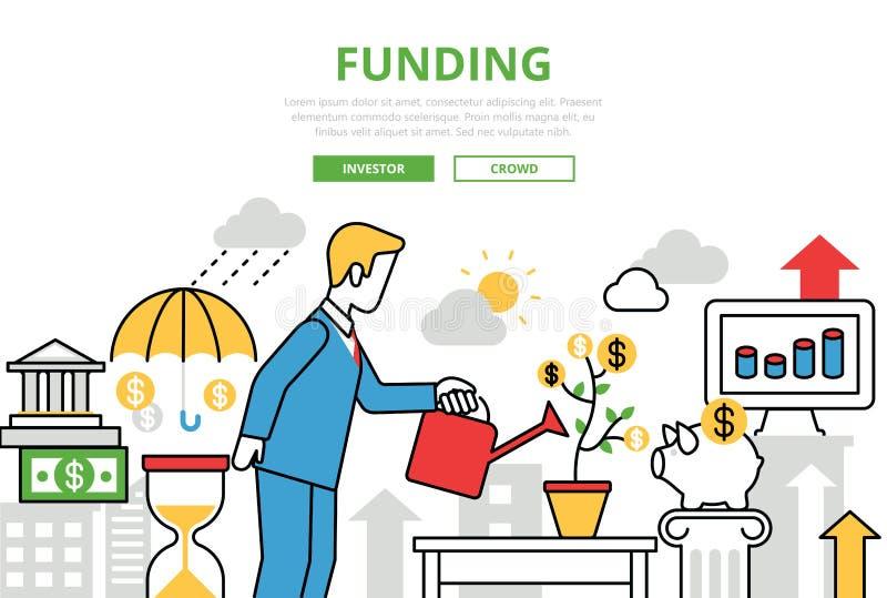 Investment Funding vector flat line art infographics banner. Investment Funding concept flat line art vector icons. Modern website infographics illustration hero royalty free illustration