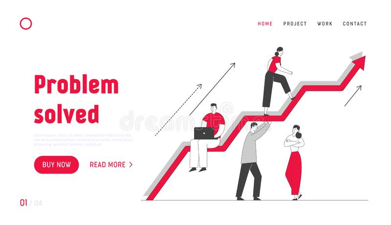Investment Growth Website Landing Page.Business Team Working and Holding Huge Growing Arrow, Leader Climbing on Top. Businesspeople Teamwork Web Page Banner vector illustration