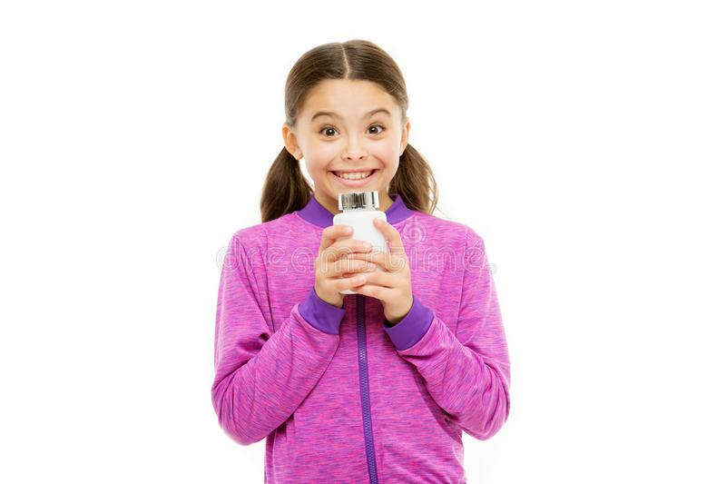 Investment into health. Girl hold medicines bottle. Vitamin concept. Need vitamin supplements. Healthy lifestyle. Health royalty free stock photo