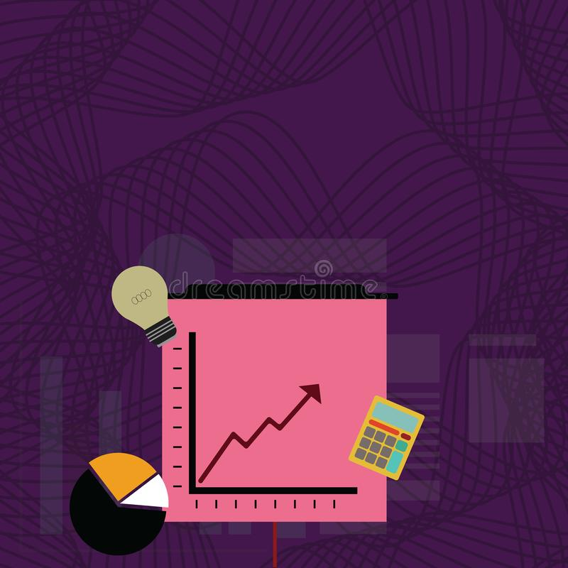 Investment Icons of Pie and Line Chart with Arrow Pointing Going Upward, Calculator and Bulb. Creative Background Idea vector illustration