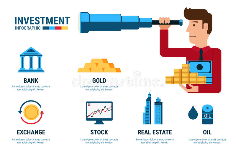 Investment Infographics. Businessman using telescope looking for investment. Cartoon Vector Illustration royalty free illustration