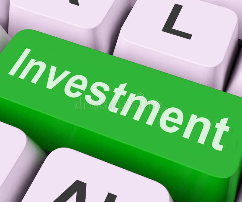 Investment Key Shows Investing Wealth And Roi stock illustration