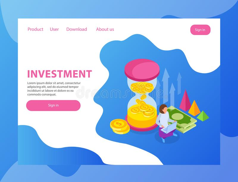 Investment Landing Page Design royalty free illustration
