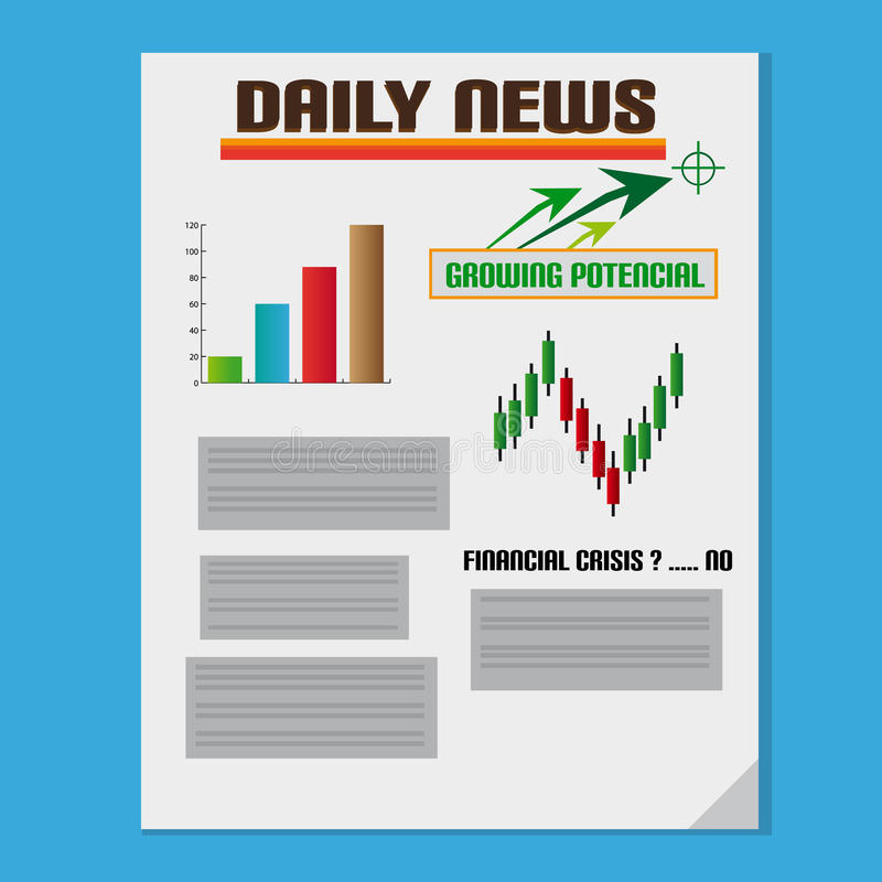 Daily Investment News With Graph royalty free illustration