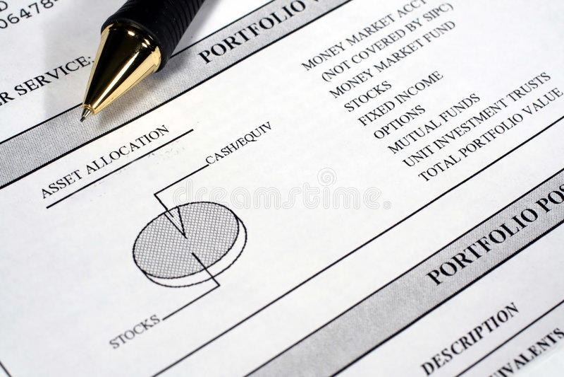 Investment Portfolio Summary. This is a close up image of an investment portfolio summary with a pen stock photos