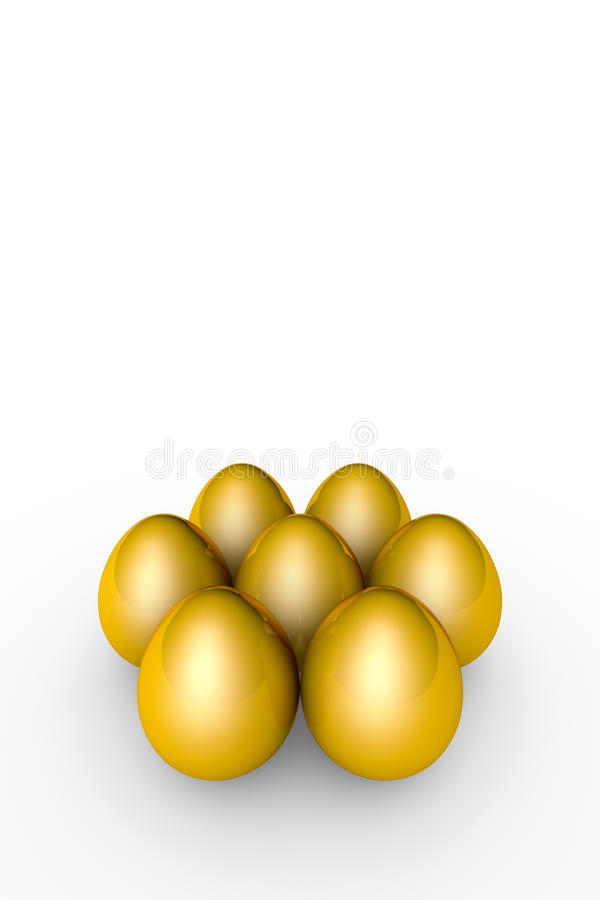 Investment and profit. Golden eggs. 3D illustration render. Golden eggs. Conceptual illustration. Available in high-resolution and several sizes to fit the needs stock illustration