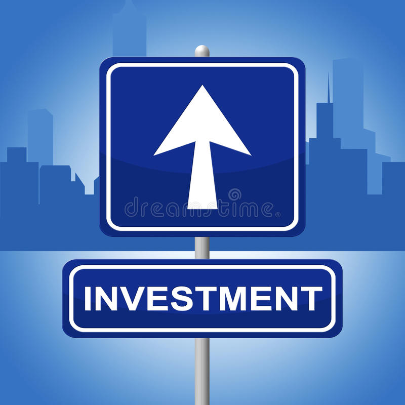 Investment Sign Shows Signboard Pointing And Investing royalty free illustration