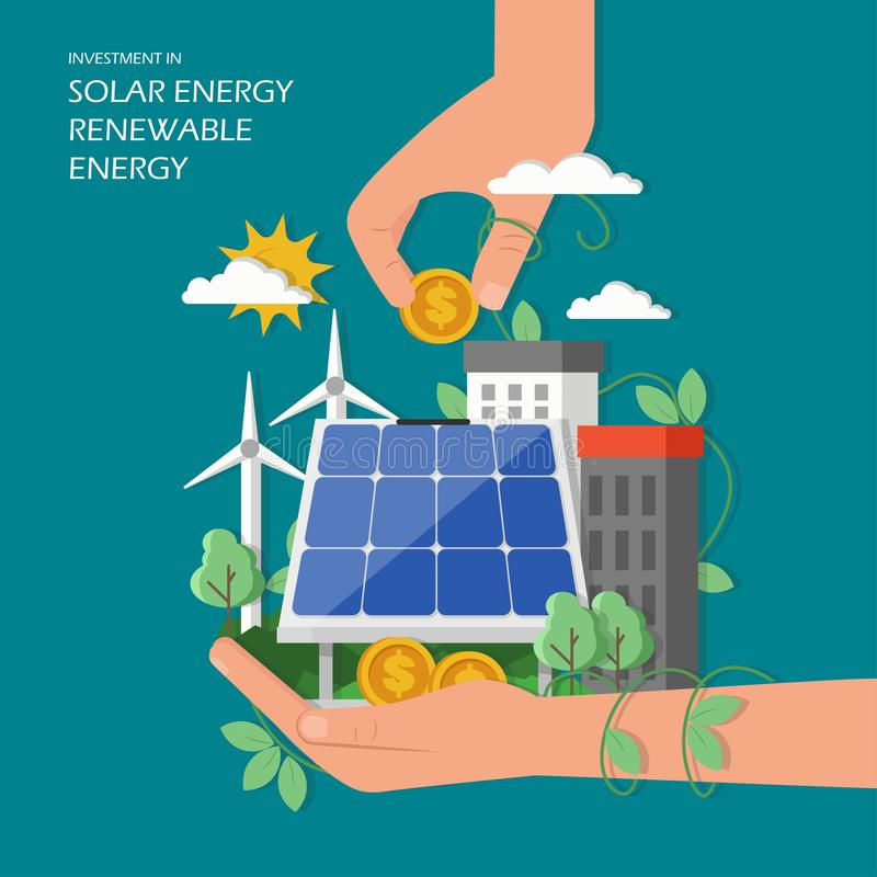 Investment in solar renewable energy vector illustration. Investment in solar renewable energy concept vector illustration. Green city with wind mills, solar stock illustration