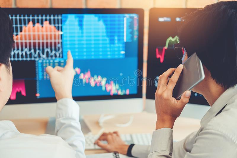 Investment stock market Entrepreneur Business Team discussing and analysis graph stock market trading,stock chart concept stock photography