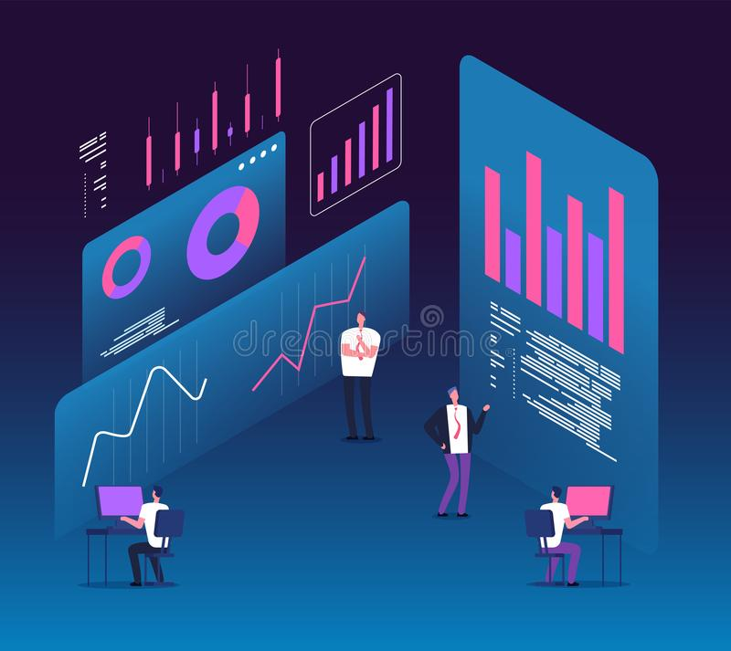 Investment strategy isometric concept. People with analytics data diagrams. Digital business technology marketing 3d. Vector design. Research data and royalty free illustration