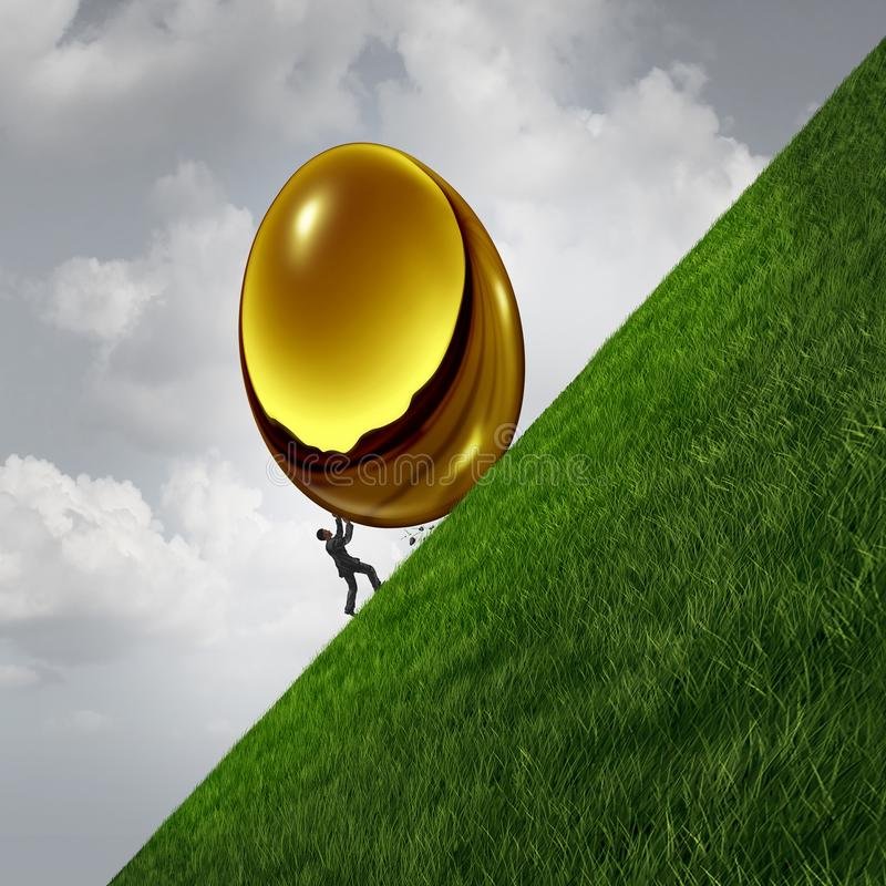 Investment Struggle Financial Difficulty. Investment struggle as a business sisyphus metaphor as a businessman pushing a heavy golden egg up a hill as financial stock illustration